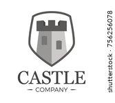 castle logo tower in shield....   Shutterstock .eps vector #756256078