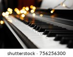 piano keys with beautiful... | Shutterstock . vector #756256300