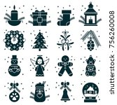 set of christmas and new year... | Shutterstock .eps vector #756260008