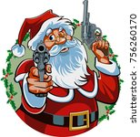 Santa Claus Pointing With Gun