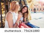 shopping time. two beautiful... | Shutterstock . vector #756261880