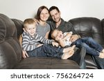 a portrait of family having fun ... | Shutterstock . vector #756264724
