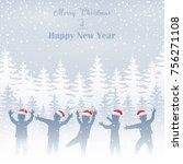 happy children silhouette in... | Shutterstock . vector #756271108