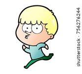 cartoon curious boy running | Shutterstock .eps vector #756276244