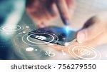 hand touch screen smart phone ... | Shutterstock . vector #756279550