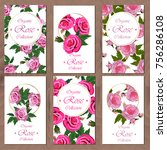 postcard set with roses on... | Shutterstock .eps vector #756286108