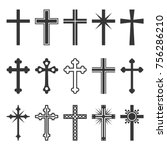 christian cross icons set on... | Shutterstock .eps vector #756286210