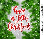 christmas greeting card with... | Shutterstock .eps vector #756287308