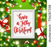 christmas greeting card with... | Shutterstock .eps vector #756287338