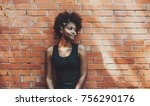 portrait of young curly... | Shutterstock . vector #756290176