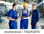 team of engineers having... | Shutterstock . vector #756292870