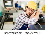 tired worker fall asleep during ... | Shutterstock . vector #756292918