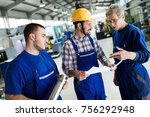 team of engineers having... | Shutterstock . vector #756292948