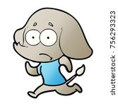 cartoon unsure elephant running ... | Shutterstock .eps vector #756293323