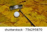 a golf ball and putter on the... | Shutterstock . vector #756295870