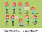 set of female character in... | Shutterstock .eps vector #756298909