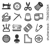 sewing icons set on white... | Shutterstock .eps vector #756301264