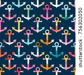 seamless pattern with anchor.... | Shutterstock .eps vector #756302050