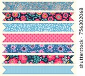 set of vintage tags and... | Shutterstock .eps vector #756302068