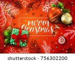 handwritten inscription merry... | Shutterstock .eps vector #756302200
