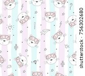 seamless pattern with cute... | Shutterstock .eps vector #756302680