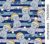hand drawn seamless pattern... | Shutterstock .eps vector #756303043