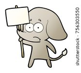 cartoon unsure elephant with... | Shutterstock .eps vector #756303550
