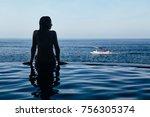 black silhouette of happy woman ... | Shutterstock . vector #756305374