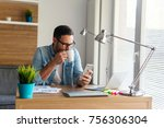 handsome young freelancer... | Shutterstock . vector #756306304