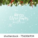cute christmas greeting card... | Shutterstock .eps vector #756306934