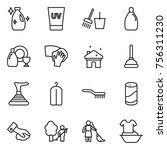 thin line icon set   cleanser ... | Shutterstock .eps vector #756311230