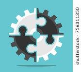 cog wheel assembled of white... | Shutterstock .eps vector #756311350
