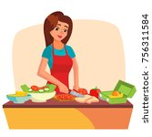 lunch box vector. young woman... | Shutterstock .eps vector #756311584