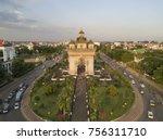 aerial top view of patuxai  war ... | Shutterstock . vector #756311710