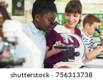 group of pupils with teacher... | Shutterstock . vector #756313738