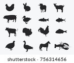 set of silhouettes of farm... | Shutterstock .eps vector #756314656