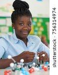 female pupil using molecular... | Shutterstock . vector #756314974