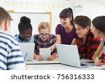 teenage students with teacher... | Shutterstock . vector #756316333
