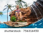 funny child learn to swim with... | Shutterstock . vector #756316450