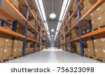 classic warehouse with pallet... | Shutterstock . vector #756323098
