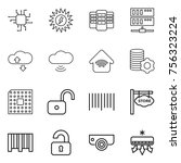 thin line icon set   chip  sun... | Shutterstock .eps vector #756323224