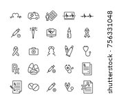 set of health thin line icons.... | Shutterstock .eps vector #756331048