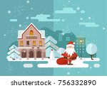 merry christmas and happy new... | Shutterstock .eps vector #756332890
