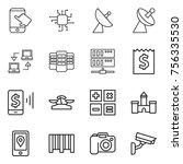 thin line icon set   touch ... | Shutterstock .eps vector #756335530