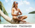summer lifestyle portrait of... | Shutterstock . vector #756336433