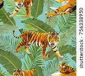 Tigers In Tropical Flowers And...