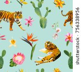 seamless pattern with tigers ... | Shutterstock .eps vector #756338956