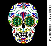 day of the dead colorful skull... | Shutterstock .eps vector #756340654