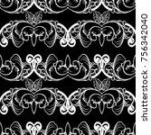 baroque seamless pattern. black ... | Shutterstock .eps vector #756342040