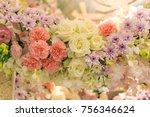 mixed flower arrangement ... | Shutterstock . vector #756346624